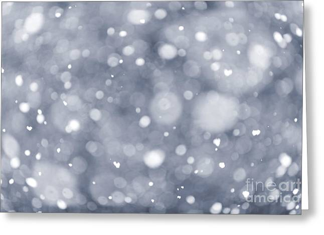 Snowy Night Greeting Cards - Snowfall  Greeting Card by Elena Elisseeva