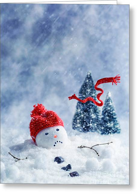 Sad Eyes Greeting Cards - Snowman  Greeting Card by Amanda And Christopher Elwell