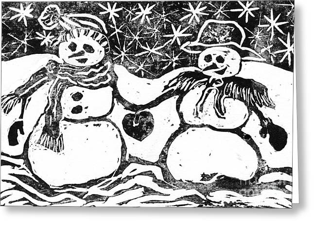 Positive Negative Design Greeting Cards - Snowman Couple Greeting Card by Ellen Miffitt