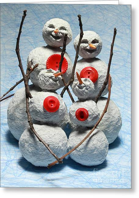 Seasons.dad Greeting Cards - Snowman Family Christmas Card Greeting Card by Adam Long