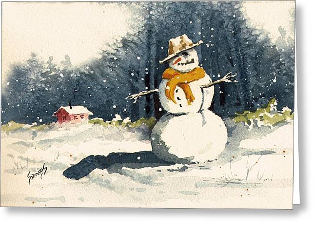 Cold Paintings Greeting Cards - Snowman Greeting Card by Sam Sidders