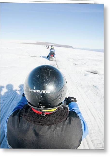 Snowmobilers Greeting Card by Ashley Cooper