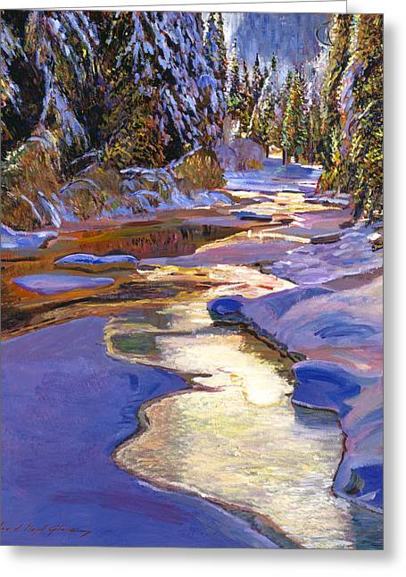 Snow Covered Landscape Greeting Cards - Snowy Creek Greeting Card by David Lloyd Glover