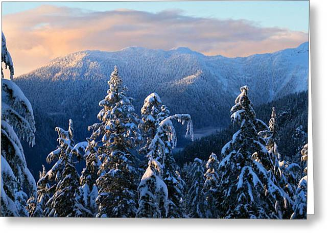 (c) 2010 Photographs Greeting Cards - Snowy Mountain Landscape Greeting Card by Pierre Leclerc Photography
