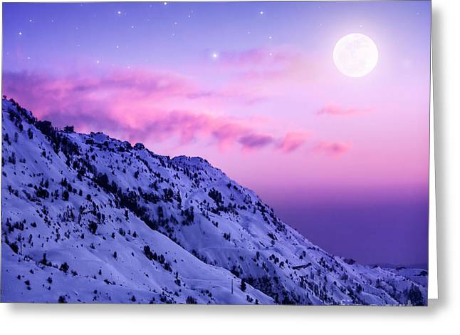 Snowy Night Night Greeting Cards - Snowy mountains Greeting Card by Anna Omelchenko