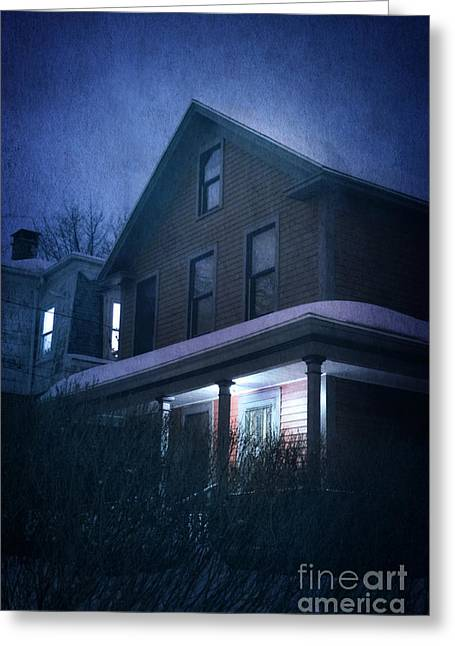 Winter Night Greeting Cards - Snowy Night Greeting Card by HD Connelly
