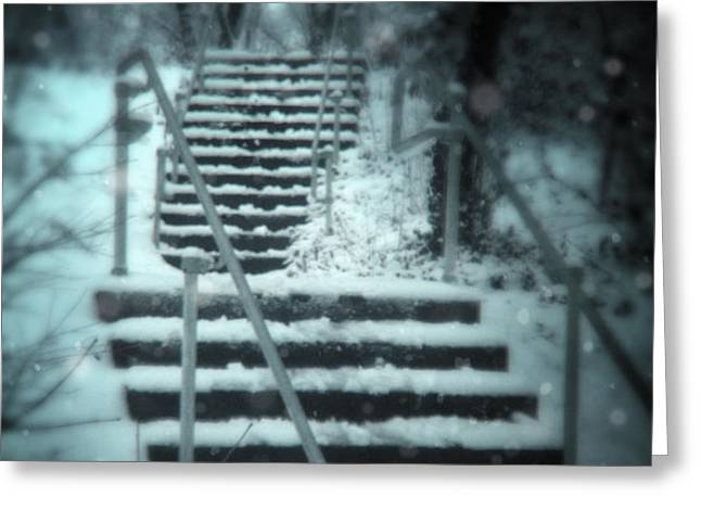 Snowy Stairway Greeting Card by Jill Battaglia