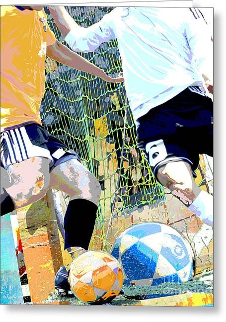 Kids Sports Greeting Cards - Soccer Practice Greeting Card by AdSpice Studios