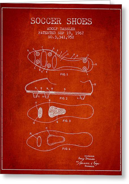 Soccer Ball Greeting Cards - Soccer Shoe Patent from 1967 Greeting Card by Aged Pixel