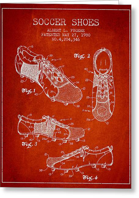 Boots Digital Art Greeting Cards - SoccerShoe Patent from 1980 Greeting Card by Aged Pixel