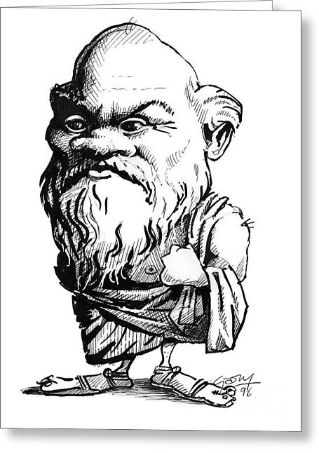 Logical Greeting Cards - Socrates, Caricature Greeting Card by Gary Brown