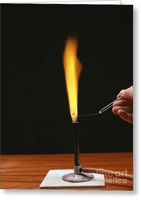 Lessons Greeting Cards - Sodium Flame Test Greeting Card by Andrew Lambert Photography