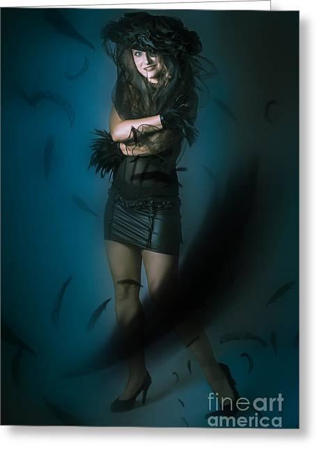 Black Widow Greeting Cards - Soft dark beauty in full length creative fashion Greeting Card by Ryan Jorgensen