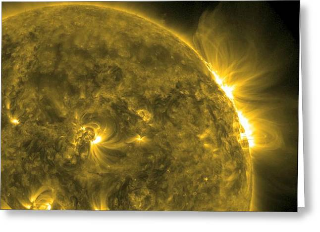 Flaring Greeting Cards - Solar flare, SDO ultraviolet image Greeting Card by Science Photo Library