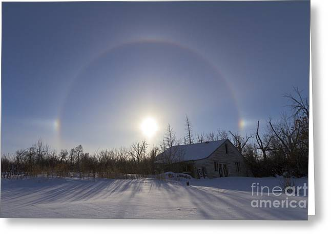 Log Cabins Greeting Cards - Solar Halo And Sundogs In Southern Greeting Card by Alan Dyer