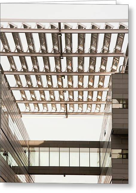 Solar Panels On The Alan Turing Building Greeting Card by Ashley Cooper