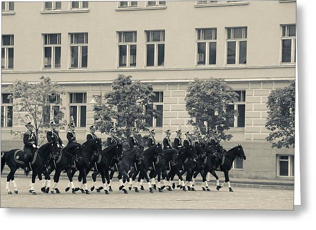 Horse Images Greeting Cards - Soldiers Of The Presidential Regimental Greeting Card by Panoramic Images