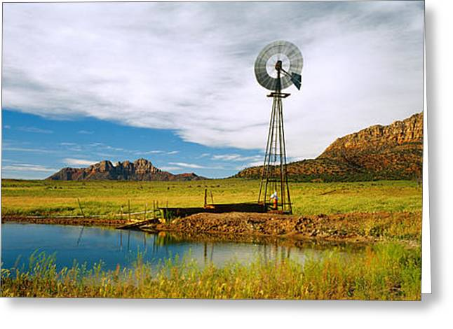 U.s. Destination Greeting Cards - Solitary Windmill Near A Pond, U.s Greeting Card by Panoramic Images