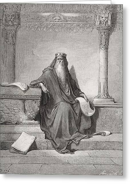 Pensive Drawings Greeting Cards - Solomon Greeting Card by Gustave Dore