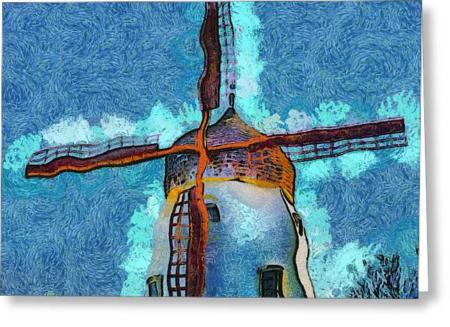 Recently Sold -  - Enhanced Greeting Cards - Solvang California Windmill Abstract Greeting Card by Barbara Snyder