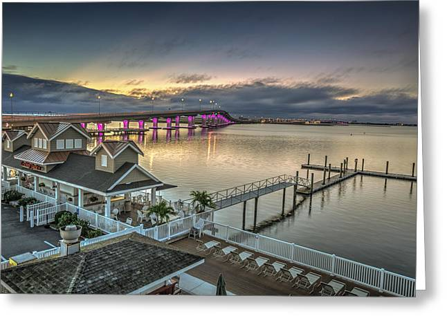 Jerseyshore Greeting Cards - Somers Point bridge Greeting Card by Al Hurley