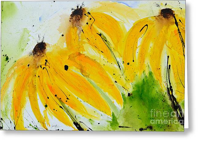 Isi Greeting Cards - Sonnenhut -  Floral Painting  Greeting Card by Ismeta Gruenwald