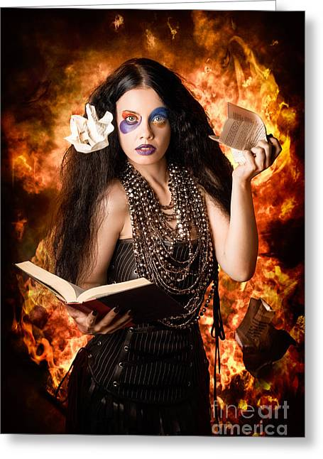 Mesmerising Greeting Cards - Sorcerer casting black magic spells of fire Greeting Card by Ryan Jorgensen