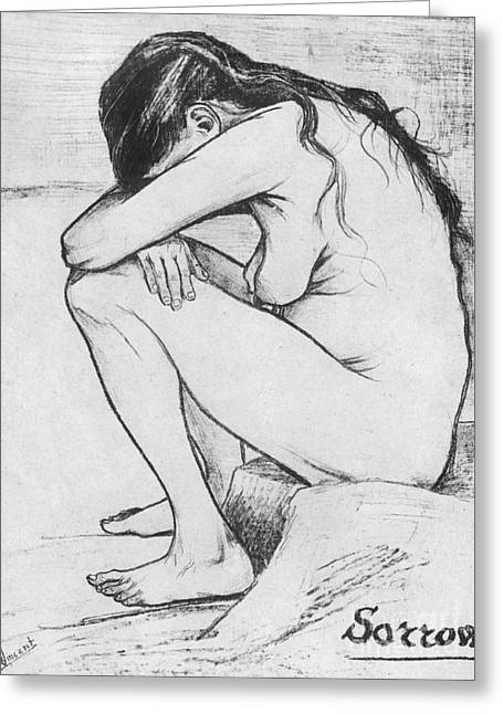 Sit-ins Drawings Greeting Cards - Sorrow  Greeting Card by Vincent Van Gogh