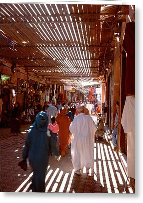 Shade Cover Greeting Cards - Souk, Marrakech, Morocco Greeting Card by Panoramic Images