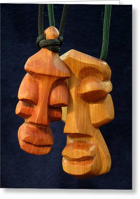 Souls Sculptures Greeting Cards - Soul Heads 1 and 2 Greeting Card by Windy Dankoff