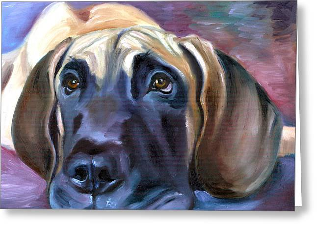Puppies Paintings Greeting Cards - Soulful - Great Dane Greeting Card by Lyn Cook