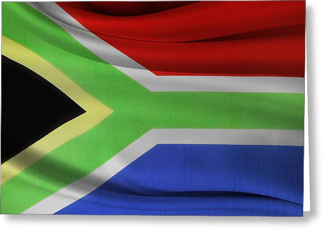 Waving Flag Greeting Cards - South African flag  Greeting Card by Les Cunliffe