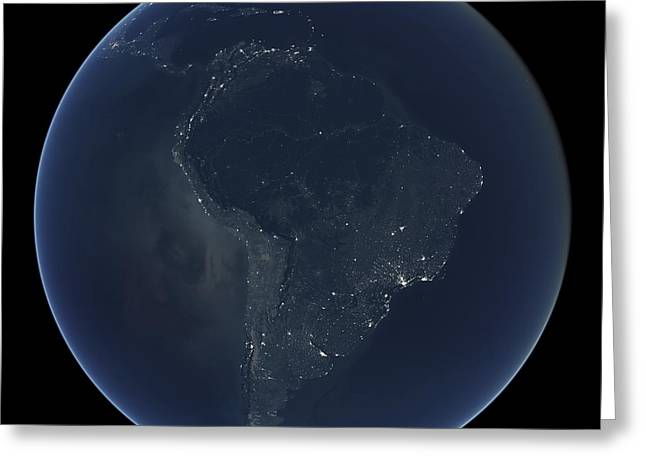 Planet Earth Greeting Cards - South America at night Greeting Card by Science Photo Library