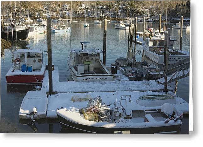 Coastal Maine Greeting Cards - South Bristol and Fishing Boats on the Coast of Maine Greeting Card by Keith Webber Jr