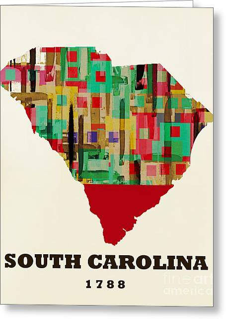 World Map Print Paintings Greeting Cards - South Carolina State Map Modern Greeting Card by Bri Buckley