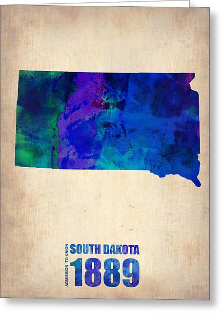 South Dakota Map Greeting Cards - South Carolina Watercolor Map Greeting Card by Naxart Studio