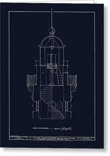 Uscg Drawings Greeting Cards - South Manitou Island Lighthouse Greeting Card by Jerry McElroy