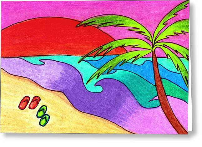 Palm Trees Greeting Cards - South Pacific Sunset Greeting Card by Geree McDermott