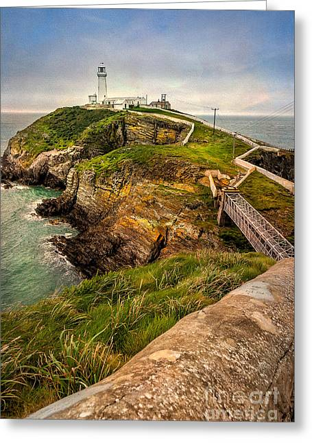 Stack Digital Greeting Cards - South Stack Lighthouse Greeting Card by Adrian Evans