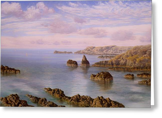 Panoramic Ocean Paintings Greeting Cards - Southern Coast of Guernsey  Greeting Card by John Brett