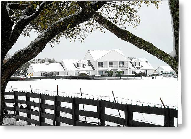 Ewing Greeting Cards - Southfork Ranch in Winter Greeting Card by Dyle   Warren