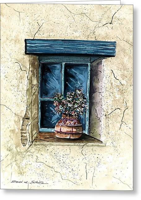Award Winning Art Greeting Cards - Southwest Window Sill Greeting Card by Steven Schultz
