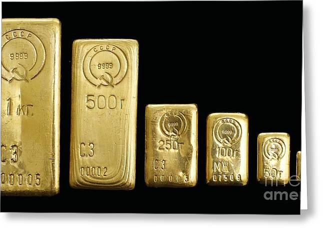 Gold Bars Greeting Cards - Soviet Gold Bars Greeting Card by RIA Novosti