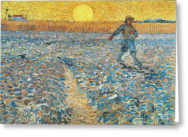 Literary Greeting Cards - Sower Greeting Card by Vincent van Gogh