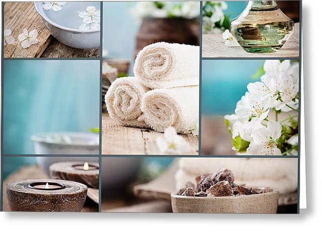 Healthy Body Greeting Cards - Spa collage Greeting Card by Mythja  Photography