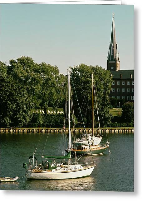 Sailboat Photos Greeting Cards - Spa Creek Sailing - Annapolis Maryland Greeting Card by Mountain Dreams