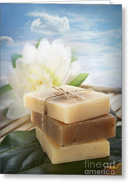 Sud Greeting Cards - Spa natural soaps Greeting Card by Mythja  Photography