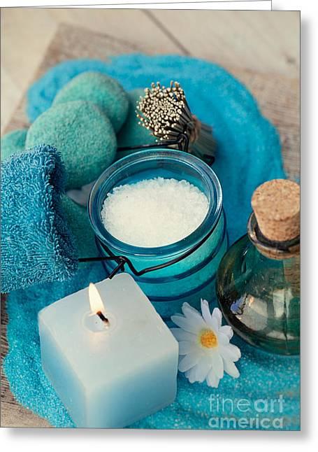 Spa Setting With Bath Salt  Greeting Card by Mythja  Photography