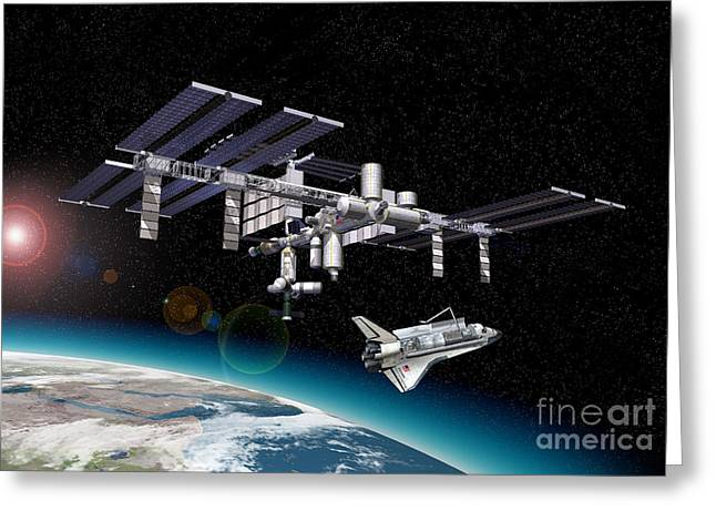 Reception Digital Art Greeting Cards - Space Station In Orbit Around Earth Greeting Card by Leonello Calvetti
