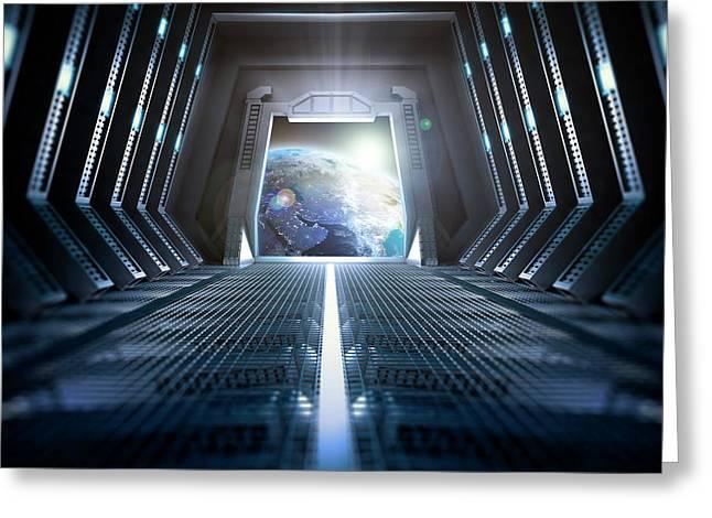 Space Station Interior Greeting Card by Andrzej Wojcicki